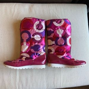 Coach Jolt Pink Berry Tall Quilted Snow Boots